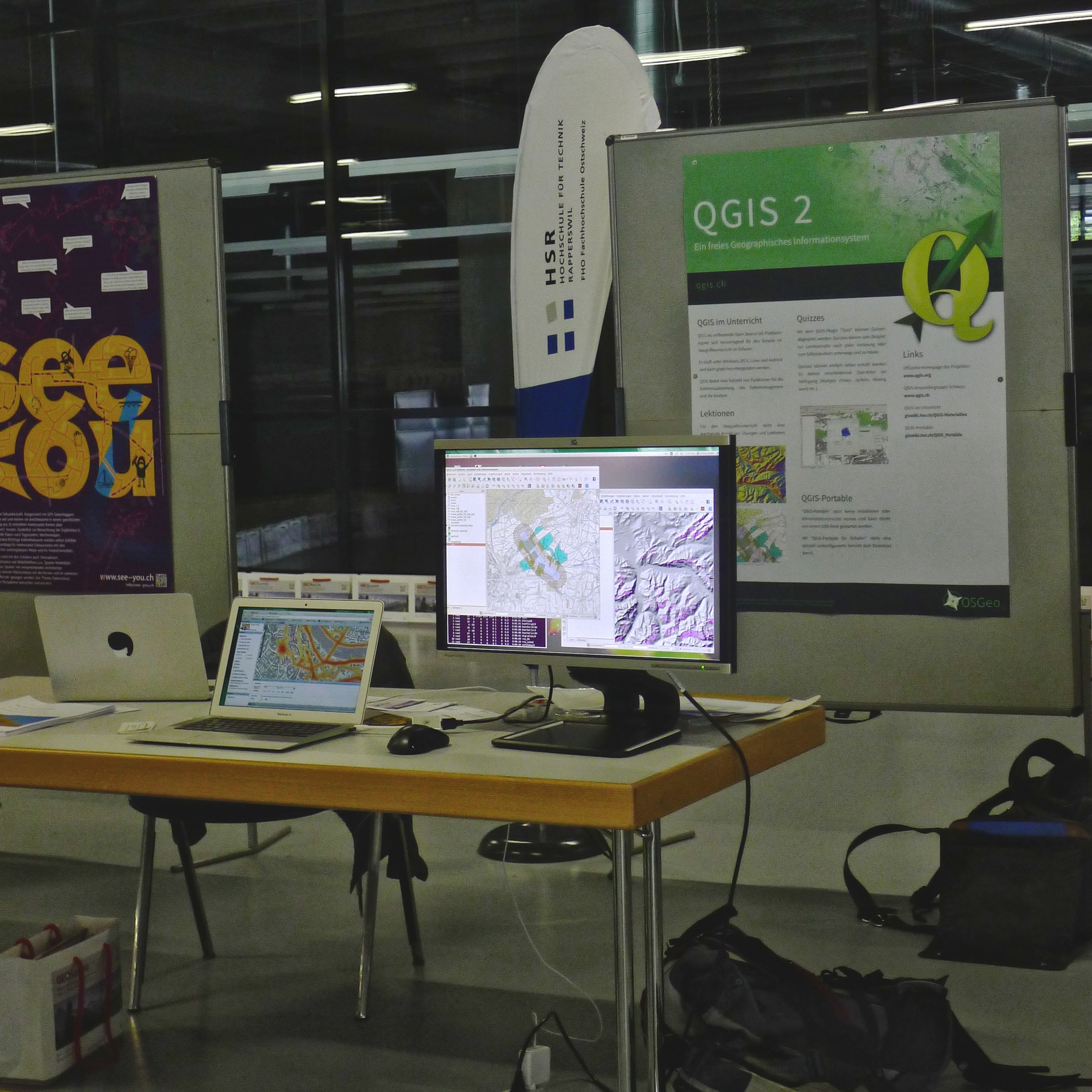 QGIS booth at the GEOSchool-Day (Geosummit 2014)